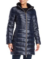 Karl Lagerfeld - Faux Fur Trim Packable Down Coat - Lyst