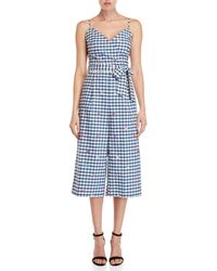 Yumi' - Travel Gingham Culotte Jumpsuit - Lyst