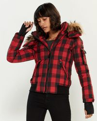 739ce969a Real Fur-trimmed Plaid Down Jacket