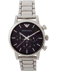 Emporio Armani - Ar1853 Silver-tone & Black Watch - Lyst