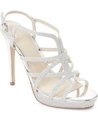 Marc Fisher - Silver Jaslyn Glitter Platform Sandals - Lyst