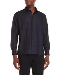 Luciano Barbera - Navy Wool Pocket Sport Shirt - Lyst