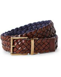 Cole Haan - Brown & Navy Reversible Braided Belt - Lyst