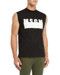 MSGM - Logo Crew Neck Tank Top - Lyst