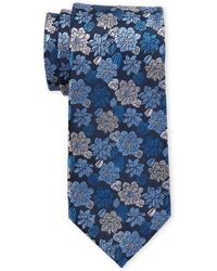 Isaac Mizrahi New York - Navy Large Flower Silk Tie - Lyst