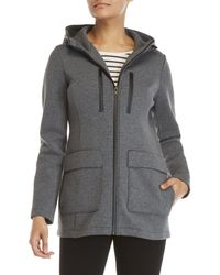 DKNY - Grey Double Knit Hooded Jacket - Lyst