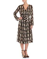 Les Copains - Printed Wrap Midi Dress - Lyst