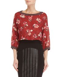 GAUDI - Red Floral Cropped Blouse - Lyst