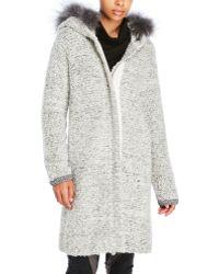D'deMOO - Real Fur Trim Hooded Textured Knit Coat - Lyst