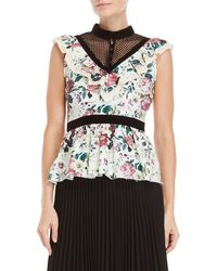 Manoush - Floral Ruffled High Neck Top - Lyst