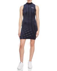 Fila - Esme Striped Mock Neck Velour Dress - Lyst