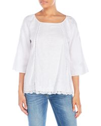Symple NYC - Lace-Trimmed Top - Lyst