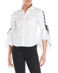 Olivaceous - Lace-Up Ruffle Shirt - Lyst