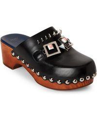 Fendi - Black Faces Leather Sabot Clogs - Lyst