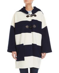 Le Mont St Michel - Navy & Off White Striped Wool Cape Jacket - Lyst