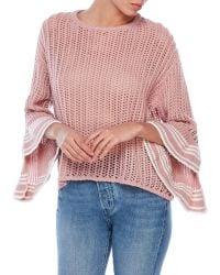She + Sky - Peek-A-Boo Bell Sleeve Sweater - Lyst