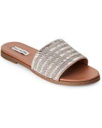 a7b1da7c97c Steve Madden - Silver Karot Rhinestone Slide Sandals - Lyst