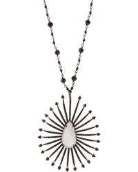 Bavna - Sterling Silver Moonstone & Black Spinel Pendant Necklace - Lyst