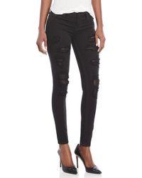 True Religion - Distressed Fishnet Super Skinny Jeans - Lyst