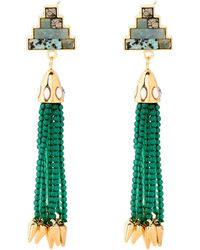 Lulu Frost - Gold-tone & Green Ortigia Tassel Drop Earrings - Lyst