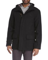 Fred Perry - Melton Black Duffle Coat - Lyst