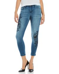 Earl Jean - Paisley Embroidered Skinny Ankle Jeans - Lyst