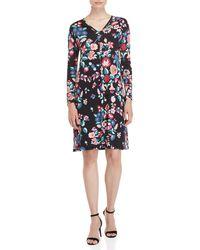 Leonard - Floral Belted Long Sleeve Dress - Lyst