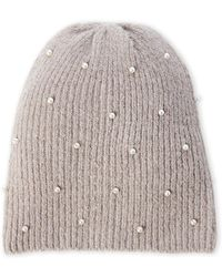 Collection 18 - Faux Pearl Knit Beanie - Lyst