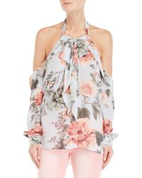 Bardot - Floral Cold Shoulder Bow Top - Lyst