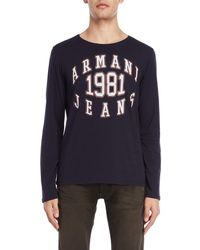 Armani Jeans - Navy Regular Fit Tee - Lyst