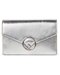 7f920d69eaa0 Lyst - Fendi Gold Metallic Leather Wallet Crossbody in Metallic ...