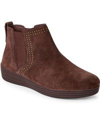 Fitflop - Chocolate Superchelsea Wedge Booties - Lyst