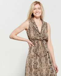 Lush - Brown Snake Print Knotted Top - Lyst