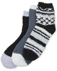 Ellen Tracy - 3-pack Black Stripe Cozy Socks - Lyst