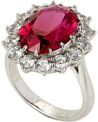 Fantasia by Deserio - Silver-tone Princess Diana Ruby Cubic Ziroconia Ring Size 7 - Lyst