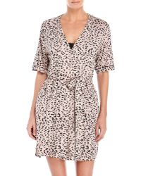 Jessica Simpson - Two-Piece Chemise & Leopard Print Robe Set - Lyst