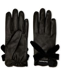 The Kooples - Smooth Leather & Velvet Gloves - Lyst