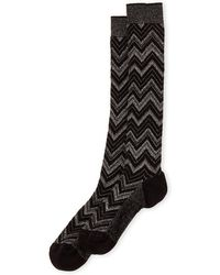 Missoni - Lurex Chevron Knee Socks - Lyst