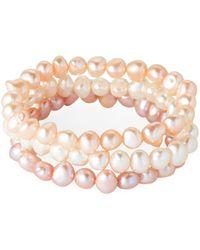 Tara Pearls - Set Of 3 Pearl Stretch Bracelets - Lyst