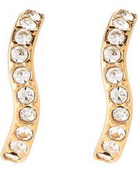 Michael Kors - Gold-tone Pave Wavy Earrings - Lyst