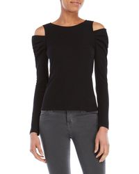 Lush - Ribbed Cold Shoulder Top - Lyst