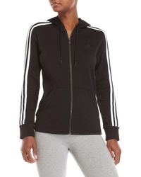 adidas - Fleece Athletic Stripe Hoodie - Lyst