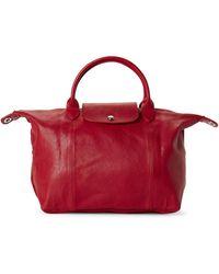 Longchamp - Cherry Le Pliage Cuir Medium Satchel - Lyst