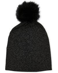 Sofia Cashmere - Real Fur Cashmere Beanie - Lyst