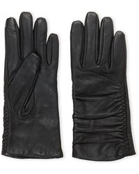 Adrienne Vittadini - Black Ruched Leather Gloves - Lyst