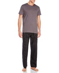 Michael Kors - Two-Piece Crew Neck Tee & Flannel Pants Set - Lyst