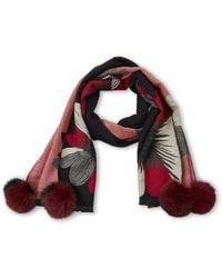 La Fiorentina - Black & Red Floral Real Fur Pom-pom Scarf - Lyst