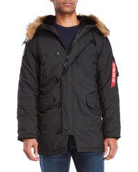 Alpha Industries - Altitude Faux Fur Trim Hooded Coat - Lyst