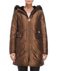 Cole Haan - Faux Fur Trim Down Coat - Lyst