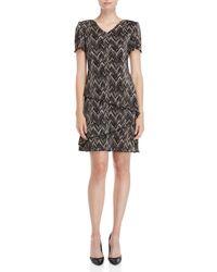 Connected Apparel - Textured Chevron Sheath Dress - Lyst